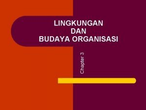 Chapter 3 LINGKUNGAN DAN BUDAYA ORGANISASI LINGKUNGAN ORGANISASI