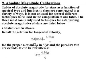 9 Absolute Magnitude Calibrations Tables of absolute magnitude