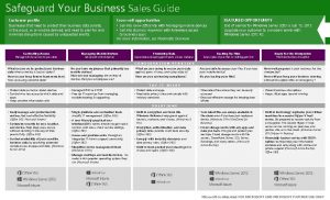 Safeguard Your Business Sales Guide Customer profile Businesses