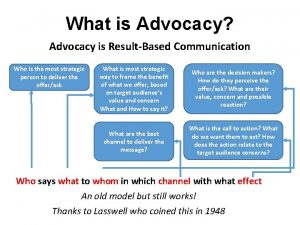 What is Advocacy Advocacy is ResultBased Communication Who