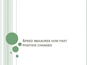 SPEED MEASURES HOW FAST POSITION CHANGES SPEED Speed
