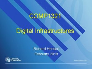 COMP 1321 Digital Infrastructures Richard Henson February 2018