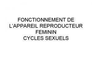FONCTIONNEMENT DE LAPPAREIL REPRODUCTEUR FEMININ CYCLES SEXUELS Appareil