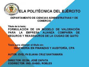 ESCUELA POLITCNICA DEL EJRCITO DEPARTAMENTO DE CIENCIAS ADMINISTRATIVAS