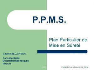 P P M S Plan Particulier de Mise