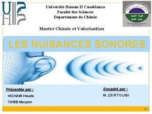 Universit Hassan II Casablanca Facult des Sciences Dpartement