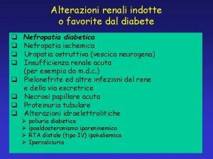 Alterazioni renali indotte o favorite dal diabete q
