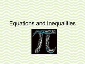 Equations and Inequalities Unit 8 Solving Inequalities Vocabulary
