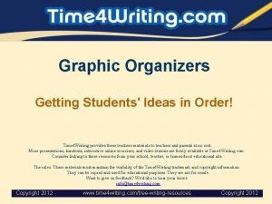 Graphic Organizers Getting Students Ideas in Order Time