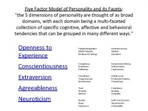 Five Factor Model of Personality and its Facets