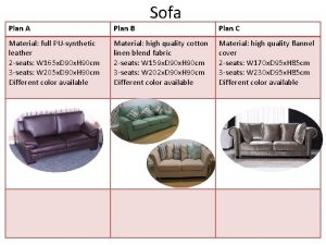 Sofa Plan A Plan B Plan C Material