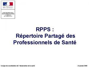 RPPS Rpertoire Partag des Professionnels de Sant Groupe