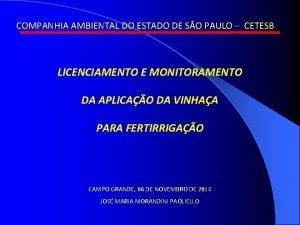 COMPANHIA AMBIENTAL DO ESTADO DE SO PAULO CETESB