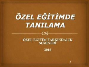 ZEL ETMDE TANILAMA ZEL ETM FARKINDALIK SEMNER 2016