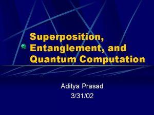 Superposition Entanglement and Quantum Computation Aditya Prasad 33102