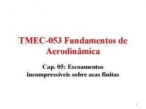 TMEC053 Fundamentos de Aerodinmica Cap 05 Escoamentos incompressveis