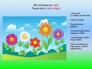 Blok tematyczny Lato Temat dnia Lato na ce