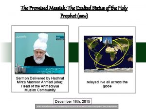 The Promised Messiah The Exalted Status of the
