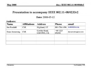 May 2008 doc IEEE 802 11 080560 r