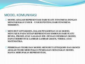 MODEL KOMUNIKASI MODEL ADALAH REPRESENTASI DARI SUATU FENOMENA