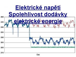 Elektrick napt Spolehlivost dodvky elektrick energie Obecn pojmy