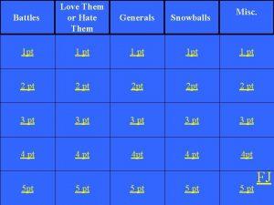 Battles Love Them or Hate Them Generals Snowballs