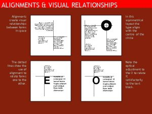 ALIGNMENTS VISUAL RELATIONSHIPS Alignments create visual relationships between