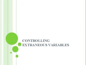 CONTROLLING EXTRANEOUS VARIABLES CHAPTER OBJECTIVES 1 2 3
