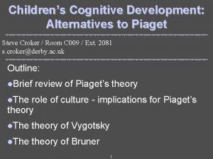 Childrens Cognitive Development Alternatives to Piaget Steve Croker