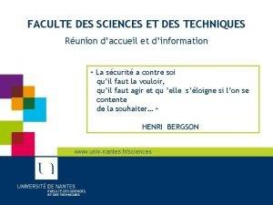 FACULTE DES SCIENCES ET DES TECHNIQUES Runion daccueil