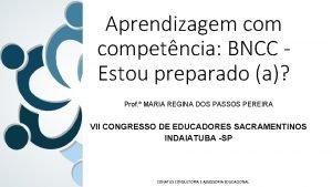 Aprendizagem competncia BNCC Estou preparado a Prof MARIA