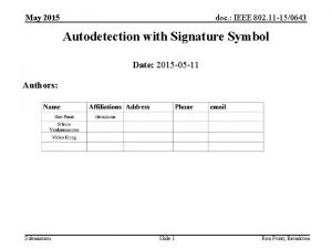 May 2015 doc IEEE 802 11 150643 Autodetection