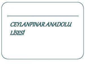 CEYLANPINAR ANADOLU LSES SINAV KAYGISI VE BAETME YOLLARI