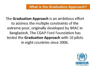 What is the Graduation Approach The Graduation Approach