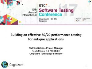 Building an effective 8020 performance testing for antique