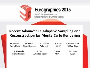 Recent Advances in Adaptive Sampling and Reconstruction for