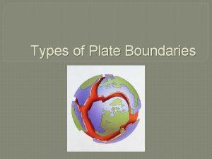 Types of Plate Boundaries Types of Plate Boundaries