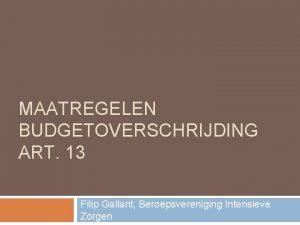 MAATREGELEN BUDGETOVERSCHRIJDING ART 13 Filip Gallant Beroepsvereniging Intensieve