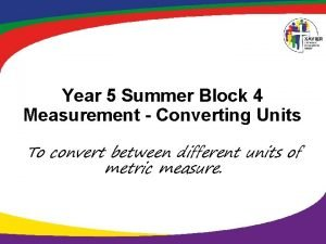 Year 5 Summer Block 4 Measurement Converting Units