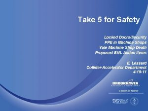 Take 5 for Safety Locked DoorsSecurity PPE in
