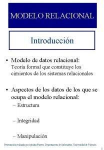 MODELO RELACIONAL Introduccin Modelo de datos relacional Teora