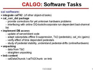 CALGO Software Tasks cal software integrate cal T