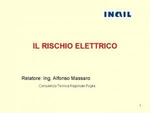IL RISCHIO ELETTRICO Relatore Ing Alfonso Massaro Consulenza
