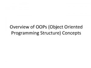 Overview of OOPs Object Oriented Programming Structure Concepts