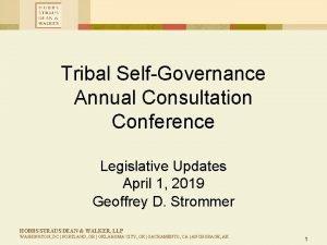 Tribal SelfGovernance Annual Consultation Conference Legislative Updates April