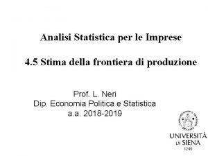 Analisi Statistica per le Imprese 4 5 Stima