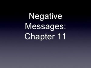 Negative Messages Chapter 11 What is a negative