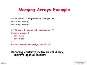 Merging Arrays Example Before 2 sequential arrays int