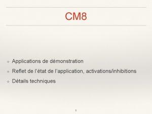CM 8 Applications de dmonstration Reflet de ltat