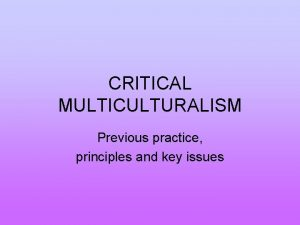 CRITICAL MULTICULTURALISM Previous practice principles and key issues